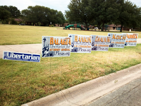 Signs for 2014 from Signs of Texas Liberty PAC and Texas Candidates for Liberty PAC